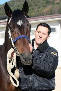 Aussie trainer Peter Wolsley with Khaosan, who won today
