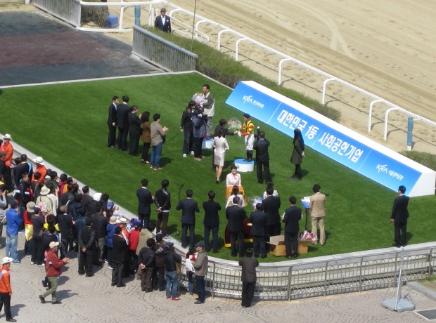 In the winner's circle: Ikuyasu has been in it more times than any other foreign rider at Seoul