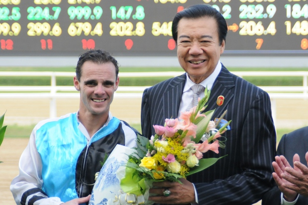 "Noel Callow with ""My Boss"" after the Selangor Turf Club Trophy (Pic: Ross Holburt)"