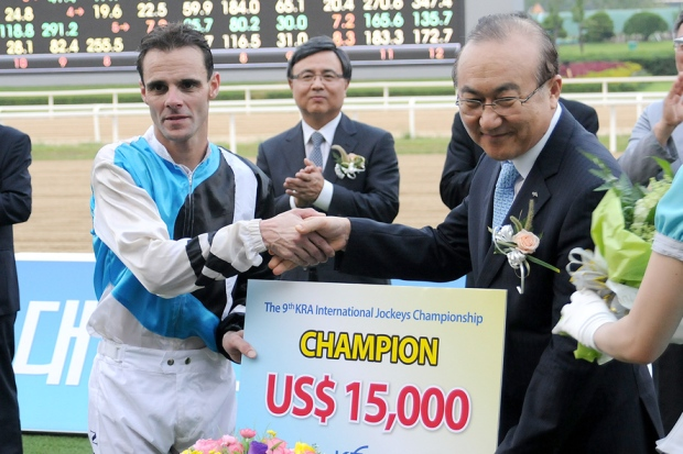 Noel Callow was the emphatic winner of the Seoul International Jockey Challenge (Pic: Ross Holburt)