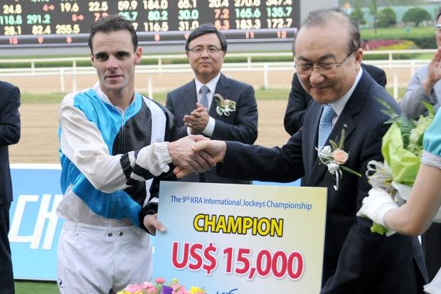 Noel Callow was the emphatic winner of the Seoul International Jockey Challenge (Pic: Ross Holburt)