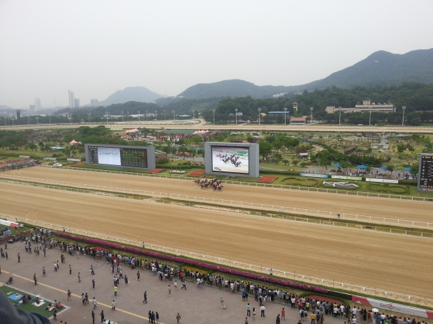 Too lazy to head down to take a picture pf the ceremony...but trust me, this was the start of the Sports Chosun Cup