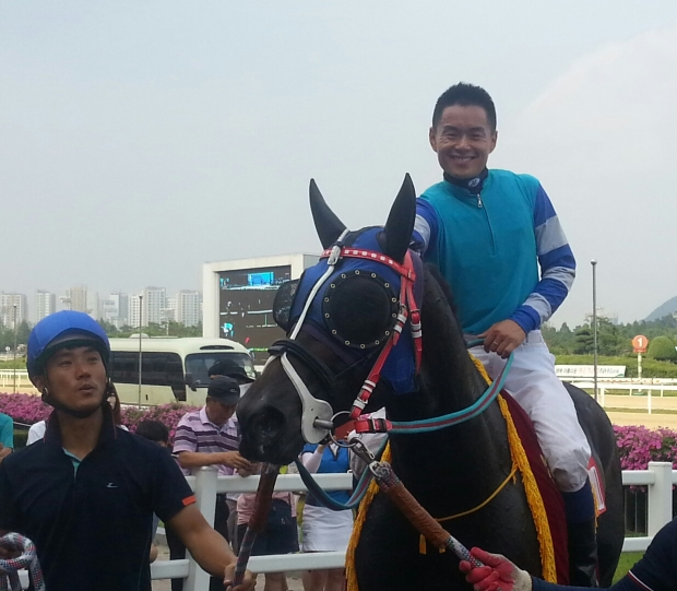 Joe Fujii on Magic Dancer - he'll ride him in the Grand Prix Stakes