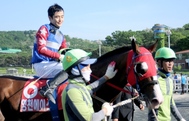 Choi Si Dae and Yeongcheon Ace return to the unsaddling area after winning the Derby (Pic: Slickpix)
