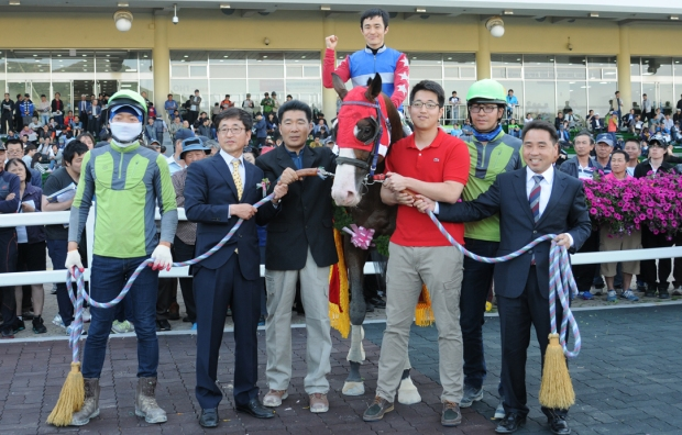 Yeongcheon Ace and Choi Si Dae in the Derby winner's circle (Pic: Ross Holburt)